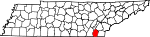 Map of Tennessee showing Bradley County