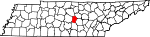 Map of Tennessee showing Cannon County
