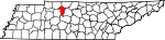 Map of Tennessee showing Cheatham County