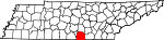 Map of Tennessee showing Franklin County