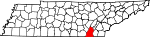Map of Tennessee showing Hamilton County