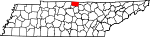 Map of Tennessee showing Macon County
