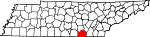 Map of Tennessee showing Marion County