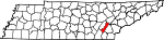 Map of Tennessee showing Meigs County