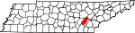 Map of Tennessee showing Rhea County