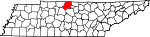 Map of Tennessee showing Sumner County