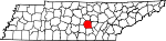 Map of Tennessee showing Warren County