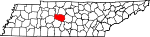 Map of Tennessee showing Williamson County