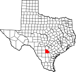 Map of Texas showing Atascosa County