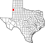 Map of Texas showing Bailey County