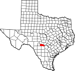 Map of Texas showing Bandera County