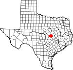 Map of Texas showing Bell County