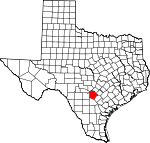 Map of Texas showing Bexar County