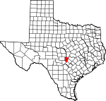 Map of Texas showing Blanco County