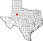 Map of Texas showing Borden County