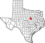 Map of Texas showing Bosque County