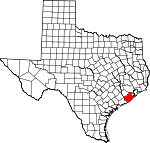 Map of Texas showing Brazoria County
