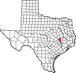 Map of Texas showing Brazos County