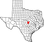 Map of Texas showing Burnet County