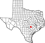 Map of Texas showing Caldwell County
