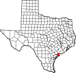 Map of Texas showing Calhoun County