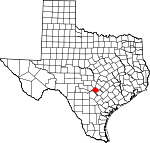 Map of Texas showing Comal County