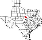 Map of Texas showing Comanche County