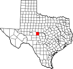 Map of Texas showing Concho County