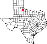 Map of Texas showing Cottle County