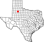 Map of Texas showing Crosby County