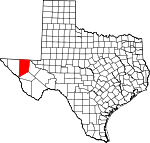 Map of Texas showing Culberson County
