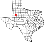 Map of Texas showing Dawson County