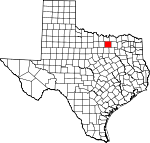 Map of Texas showing Denton County