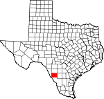 Map of Texas showing Dimmit County