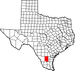 Map of Texas showing Duval County