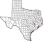 Map of Texas showing Galveston County