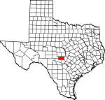 Map of Texas showing Gillespie County