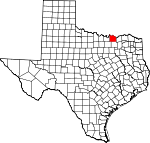 Map of Texas showing Grayson County