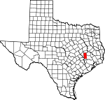 Map of Texas showing Grimes County