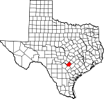 Map of Texas showing Guadalupe County