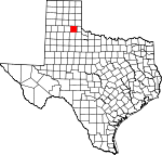 Map of Texas showing Hall County