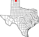 Map of Texas showing Hansford County