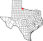 Map of Texas showing Hardeman County