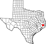 Map of Texas showing Hardin County