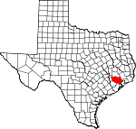 Map of Texas showing Harris County