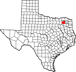 Map of Texas showing Hopkins County