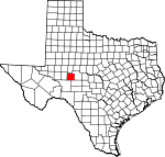Map of Texas showing Irion County