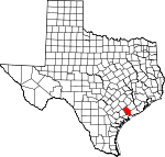 Map of Texas showing Jackson County