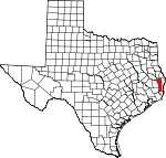 Map of Texas showing Jasper County