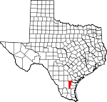 Map of Texas showing Jim Wells County